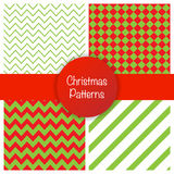 Set of different christmas simple seamless patterns. Vector illustration Stock Photos