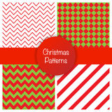 Set of different christmas simple seamless patterns. Vector illustration Stock Photography
