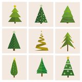 Set of different, christmas trees. Can be used for greeting card, invitation, banner, web design. vector illustration