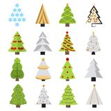 Set of different Christmas trees. Can be used for greeting cards, invitations, banners. Funny Christmas tree with a face Stock Photo