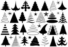 Set of different Christmas trees stock illustration