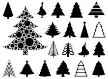 Set of different Christmas trees. Isolated on white background Stock Photo