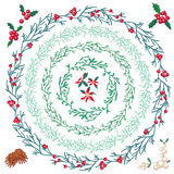 Set of different Christmas wreathes. Royalty Free Stock Photography