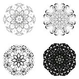Set of different circular symmetric patterns Royalty Free Stock Image