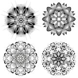 Set of different circular symmetric patterns Stock Photography