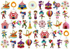 Set of different circus objects. Illustration royalty free illustration