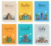 Set of outline different cities for travel destinations. Landmarks banner template of flyer, magazines, posters, book. Set of different cities for travel stock illustration