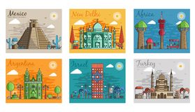 Set of different cities for travel destinations. landmarks banner template of flyer, magazines, posters, book cover. Banners. Layout workplace technology flat vector illustration