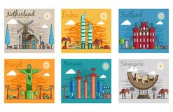 Set of different cities for travel destinations. landmarks banner template of flyer, magazines, posters, book cover. Banners. Layout workplace technology flat royalty free illustration