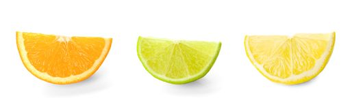 Set with different citrus fruits on white background royalty free stock photo