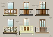 Set of different classical balconies Royalty Free Stock Photo