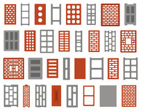 Set of different clay and concrete bricks Royalty Free Stock Photo