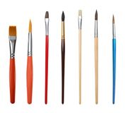 Set of different clean paint brushes stock photography