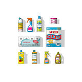 Set of different cleaning agents Royalty Free Stock Images