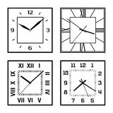 Set of different clock faces Royalty Free Stock Photo