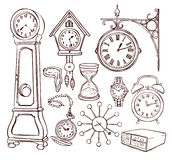Set of different clock Stock Image
