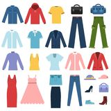 Set of different clothes for male and female. Vector fashion male and female clothing illustration Royalty Free Stock Photos