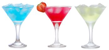 Set with different cocktails Royalty Free Stock Photos