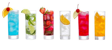 Set with different cocktails Royalty Free Stock Images