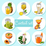 Set of different cocktails with fruits Royalty Free Stock Photography