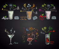 Set of different cocktails: mojito, mojito diablo, long island ice tea, martini, bloody mary and mulled wine. Alcohol cocktails stock illustration
