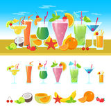 Set of different cocktails on a table with fruits. Summer cocktails vector colorful banner. Alcoholic and non-alcoholic. Cocktails, bar flat vector illustration Royalty Free Stock Images