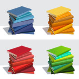Set of different color books stack Stock Photos