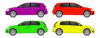 Set of different color car, realistic car models Royalty Free Stock Photo