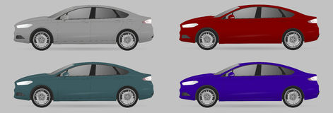 Set of different color car, realistic car models Royalty Free Stock Images