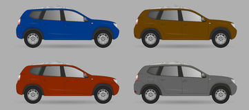 Set of different color car, realistic car models Stock Photography