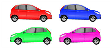 Set of different color car, realistic car models Royalty Free Stock Image
