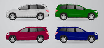 Set of different color car, realistic car models Stock Images
