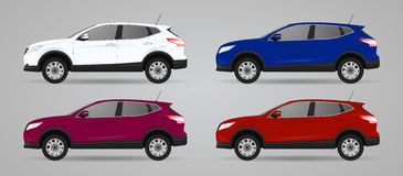 Set of different color car, realistic car models Stock Photos