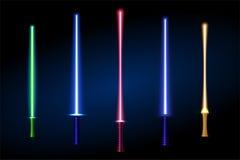 Set of different color laser light swords.  illustration. Royalty Free Stock Photo