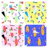 Memphis pattern 80s. Set of different color patterns in the Memphis style of the 80s of geometric shapes stock illustration