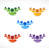 Set of different color people teams. illustration Royalty Free Stock Photos