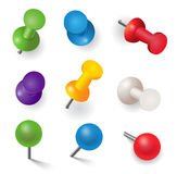 Set of different color pins Royalty Free Stock Image