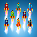 Set of different color rockets.Vector illustration Stock Images