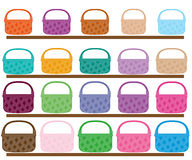 Set of different color and size baskets  illustration Stock Image