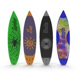 Set of different color surf boards on white 3D Illustration Stock Image