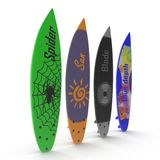 Set of different color surf boards on white 3D Illustration Royalty Free Stock Photos