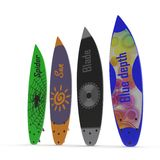 Set of different color surf boards on white 3D Illustration Stock Photo