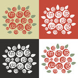 Set of different color theme bouquet of swirly roses Stock Photography