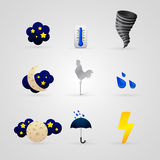 Set of different color weather icons Stock Photos