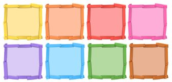 A set of different color of wooden frame royalty free illustration