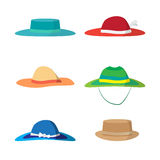 Set of different colored beach hats. Stock Images