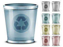Set of different colored bins Royalty Free Stock Images