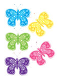 Set of different colored butterflies Royalty Free Stock Photography