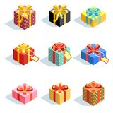 Set of different colored 3D giftboxes with ribbons . Flat vector illustration Royalty Free Stock Photo