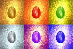 Easter Eggs of different colors glitters in vintage background Royalty Free Stock Photos